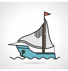 Sailing yacht flat icon vector image