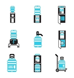 Water cooler items flat icons set vector image