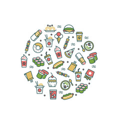 asian fast food line icons concept vector image vector image