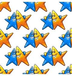 Cartoon hugging stars characters seamless pattern vector image vector image