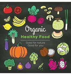 Organic food doodle on chalkboard background vector image vector image