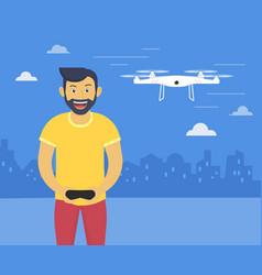 quadrocopter launching fun of youn vector image vector image