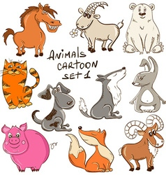 Set of cartoon wild and domestic animals vector