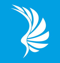 wing icon white vector image