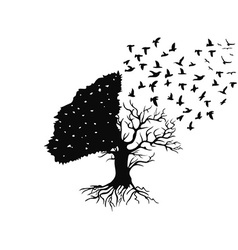 birds flying from the tree vector image vector image