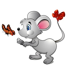 cartoon mouse and bright butterfly vector image