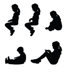 Children silhouette sitting happy set vector