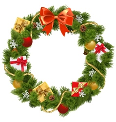 Christmas Wreath with Red Bow vector image vector image