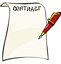 Contract with a pen vector