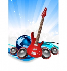guitar and earth vector image
