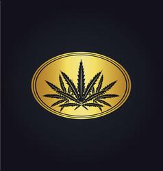 marijuana leaf emblem gold logo vector image vector image