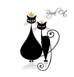 royal black cats design vector image