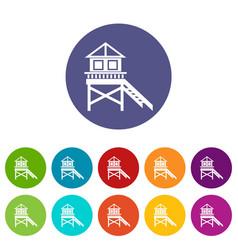wooden stilt house set icons vector image