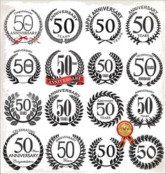 50 years anniversary laurel wreaths vector image