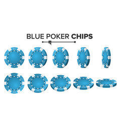 blue poker chips 3d realistic round poker vector image