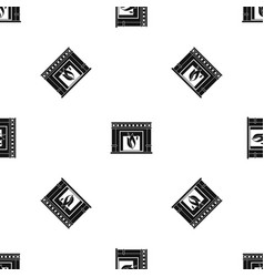 electric fireplace pattern seamless black vector image vector image