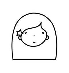 line beauty girl face with hairstyle to kawaii vector image