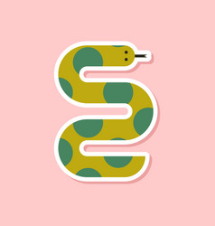 paper sticker on stylish background wildlife snake vector image vector image