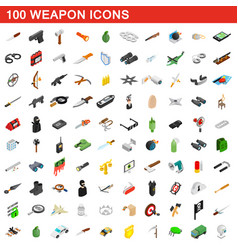 100 weapon icons set isometric 3d style vector image