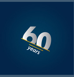 60 years anniversary celebration blue and white vector