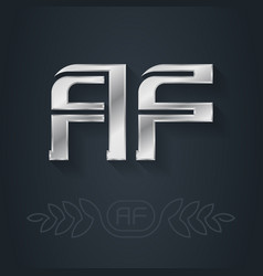 A and f initial silver logo af - metallic 3d icon vector