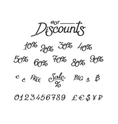 a set discounts digits currency signs vector image