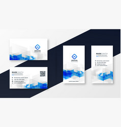 abstract white and blue business card template set vector image
