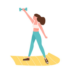 Active woman training with dumbbell on mat vector