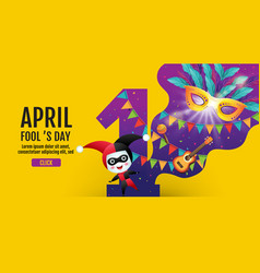 April fools day banner template colorful vector