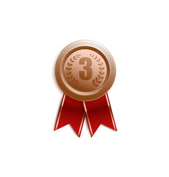 award badge for third place with red ribbon vector image