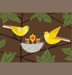 Baby birds in nest vector