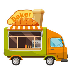 Baker van mobile snack icon cartoon style vector