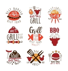 Best Grill Bar Promo Signs Series Of Colorful vector