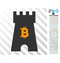 Bitcoin castle tower flat icon with bonus vector