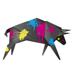 Black origami bull with print colors vector