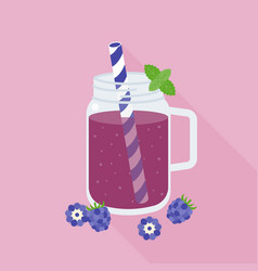 Blackberries smoothie in mason jar glass vector