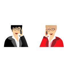 business woman talking on a mobile phone close up vector image