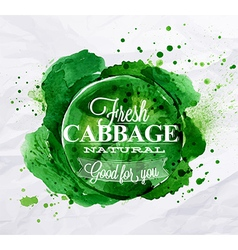 Cabbage watercolor Poster vector