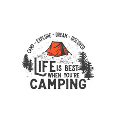 Camp explore dream discover vector