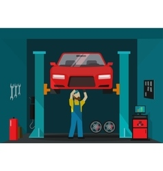 Car garage man mechanic vector
