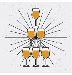 champagne glasses pyramid celebration event vector image
