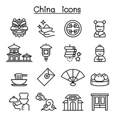 china icon set in thin line style vector image