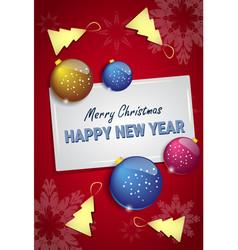 christmas tree balls on happy new year greeting vector image