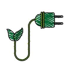 Color crayon stripe cartoon green plug electricity vector
