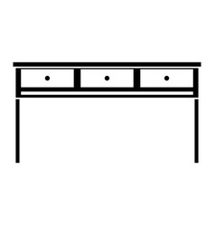 Contour office wood desk object with drawers vector