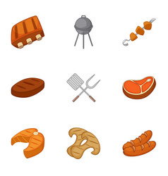 Cooking on barbecue icons set cartoon style vector