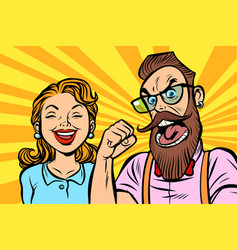 couple man and woman anger and laughter vector image