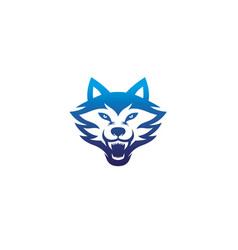 creative angry blue wolf head logo vector image