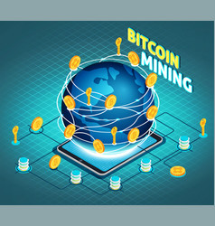Crypto currency mining isometric composition vector