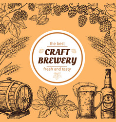 doodle sketch brewery vintage poster vector image